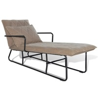 Steel & Fabric Chaise Lounge w/ Pillow Light Brown