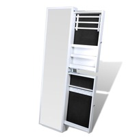 Standing Mirror Sliding Jewellery Cabinet in White