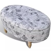 Oval Fabric Storage Ottoman Stool in Explorer Style