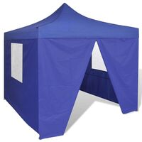 Blue Foldable Gazebo Party Tent with 4 Walls 3x3m