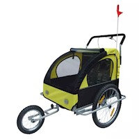 2 in 1 Kids Bike Trailer Jogger Stroller in Yellow