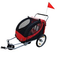 2 in 1 Kids Bike Trailer or Jogger in Red and Black