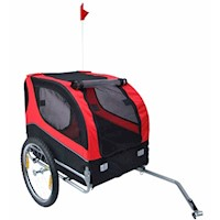 Lassie Pet Dog Bike Trailer with Reflectors in Red