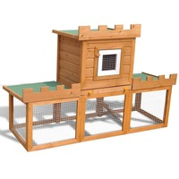 Pine Wood Outdoor Rabbit Hutch w Small Animal House