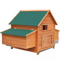 Outdoor Wooden Chicken Coop Hen House w 2 Egg Cages