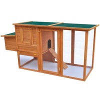 Outdoor Wooden Chicken Coop Hen House with Egg Cage