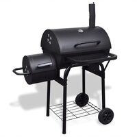 Heavy Duty Charcoal BBQ Offset Smoker w Thermometer