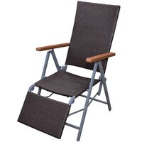 Brown Rattan Wicker Outdoor Chair with Foot Rest