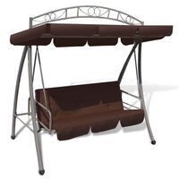 Outdoor Canopy Swing Chair Sunbed w Arch in Coffee