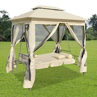 Outdoor Gazebo Swing Chair & Sunbed in Cream White