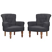 2x French Fabric Armchair w/ Padded Backrest Grey