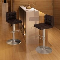 2x Grid Gas Lift Faux Leather Bar Stools in Brown