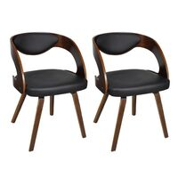 2x Modern Faux Leather Dining Chairs w/ Wood Frame