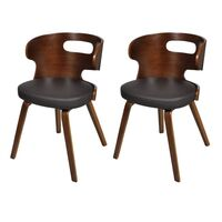 2x Cut Out Faux Leather Dining Chair w Wooden Frame