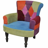 French Patchwork Fabric Armchair w/ Wooden Frame