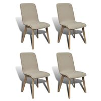 4x Fabric Dining Chairs w/ Oak Frame in Beige