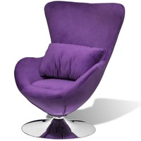 Small Fabric Swivel Egg Chair w/ Cushion in Purple