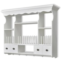 Wooden Wall Kitchen Shelving Unit w/ 6 Hooks White