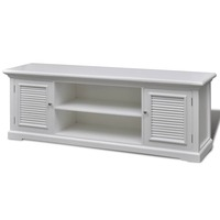 Wooden TV Entertainment Unit w/ Six Shelves White