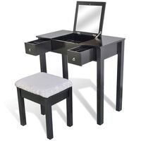 Dressing Table w/ Flip Top Mirror & Stool in Black