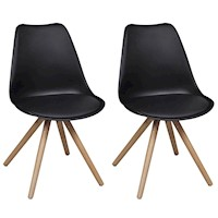 2x Eames Inspired Faux Leather Dining Chairs Black