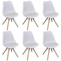 6x Eames Inspired Faux Leather Dining Chairs White
