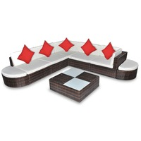 8 Piece Wicker Outdoor Lounge Set w/ Cushions Brown