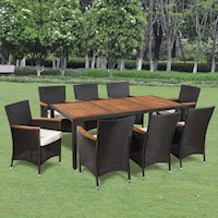 9pc Wicker Outdoor Dining Set w/ Wooden Table Top