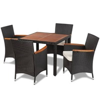 5pc Wicker Outdoor Dining Set w/ Wooden Table Top