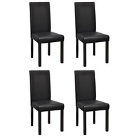 4x Large High Back Faux Leather Dining Chair Black