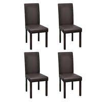 4x Large Ergonomic Faux Leather Dining Chair Brown