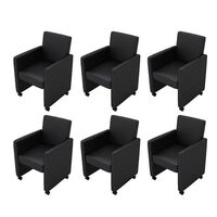 6x Faux Leather Lounge Dining Chairs w Wheels Black