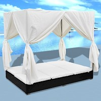 Double Outdoor Wicker Sun Bed w/ Curtain in Black