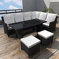 4 Piece Outdoor Wicker Lounge Set in Black