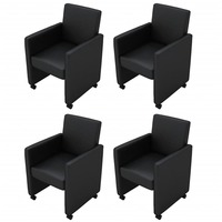4x Faux Leather Lounge Dining Chairs w Wheels Black