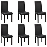 6x High Back PU Leather Dining Chairs in Black