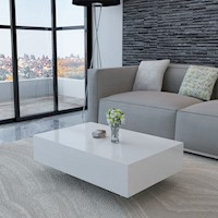 Modern MDF Coffee Table in High Gloss White 85cm