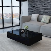 Modern MDF Coffee Table in High Gloss Black 85cm