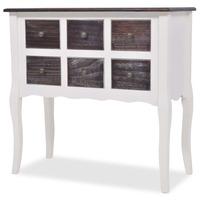6 Drawer Hall Console Table in White & Brushed Pine
