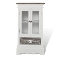 Wooden Display Cabinet Sideboard w/ Drawer in White