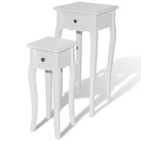 Set of 2 Side Tables w/ Drawers White in 2 Sizes