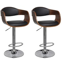 2x Bent Wood & Faux Leather Gas Lift Bar Stools