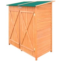 Compact 2 Door Wooden Garden Storage Shed w/ Stool