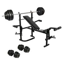 Folding Dumbbell Weight Bench w/ Barbell & Plates