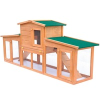 2 Level Wooden Outdoor Small Animal Rabbit Hutch