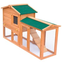 2 Level Wood Outdoor Animal Hutch w/ Under Run