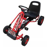 Kids Pedal Ride On Go Kart w Adjustable Seat in Red