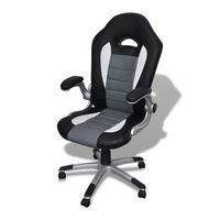 Modern Faux Leather Office Chair in Black and Grey