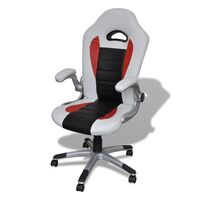 Ergonomic Faux Leather Office Chair in Off-White