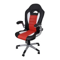Modern Faux Leather Office Chair in Black and Red